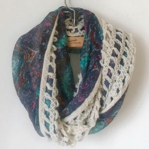 Crochet Infinity Scarf with Blue & Purple Detail
